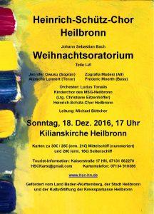 Konzert-Flyer Weihnachtoratorium 2016